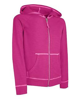 Hanes Girls' Slub Jersey Full-Zip Hoodie Amaranth M