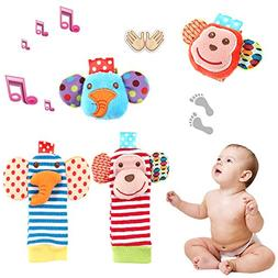 Tinabless Baby Socks Toys, Baby Wrist Rattle and Foot Rattle