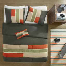 SPORTY ORANGE GREY GREEN BOYS BLOCK STRIPE COMFORTER SET FUL