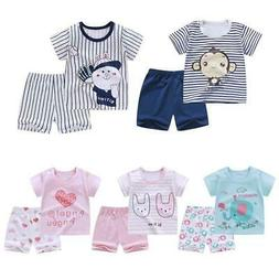 Summer Clothes Sets For Baby Boys Girls Short Sleeve Cartoon