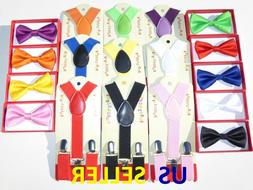 Suspender and Bow Tie Colors Baby Toddler Kids Boys Girls Ch