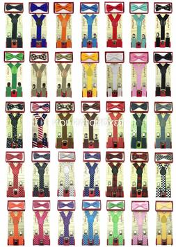 Suspender and Bow Tie Matching Colors Toddler Kids Boys Girl