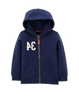 CARTERS Toddler Boy's Hooded Navy Zip Up Hoodie Jacket Siz