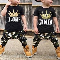 Fashion Top Pants KING Crown Clothes for Toddler Baby Boys S