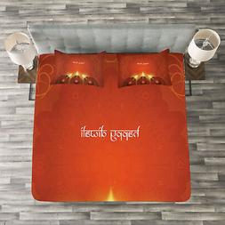 Tribal Quilted Bedspread & Pillow Shams Set, Oriental Carvin