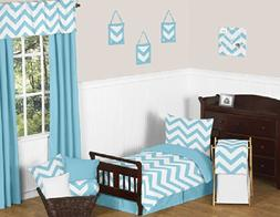 Turquoise and White Chevron Girl or Boy Toddler 5 Piece Zig