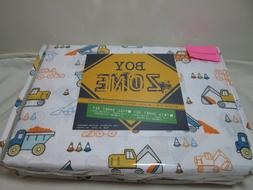 Boy Zone Twin Sheet Set CONSTRUCTION SITE VEHICLES CONES ~ B
