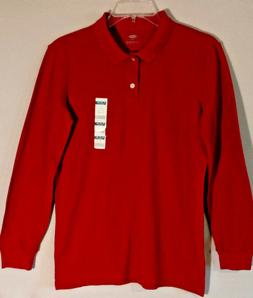 Old Navy Uniform Pique Polo For Boys Long Sleeve Red Size XL