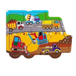 Eliiti Wooden Jigsaw Puzzle Construction for Boys Toddlers 2
