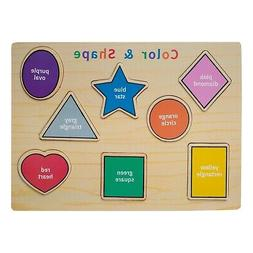 Eliiti Wooden Puzzle Shapes Colors for Toddlers 2 to 4 Years
