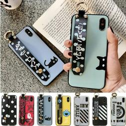 Wristband Kickstand Soft Silicone Back Case Cover For iPhone