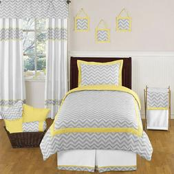 Yellow and Gray Zig Zag Childrens and Kids Bedding 4 Piece B