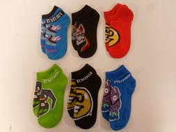 Fortnite Youth Boys No Show Socks Sz 9-2.5 Medium 6 Pair Mul